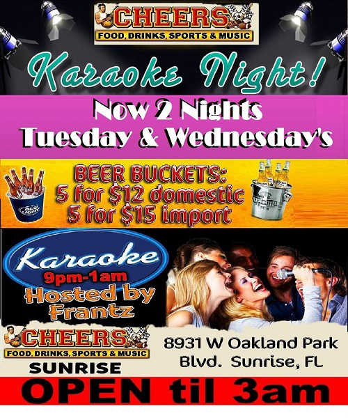 Karaoke Tuesday Wednesday Cheers Sunrise