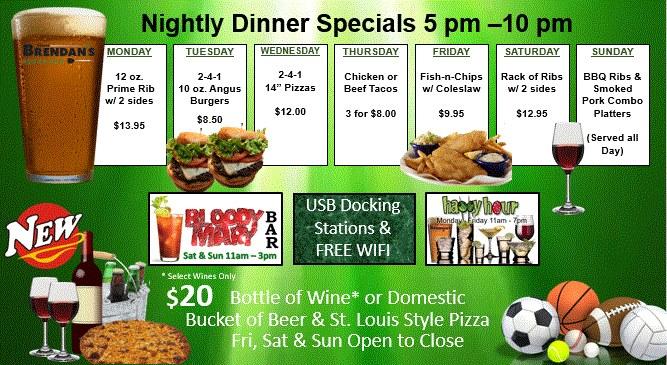 Brendans Dinner Specials